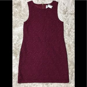 Cranberry lace overlay dress